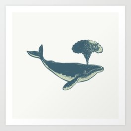 Humpback Whale Blowing Water Scratchboard Art Print