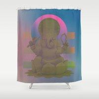 ganesha Shower Curtains featuring Ganesha by cnrgrn