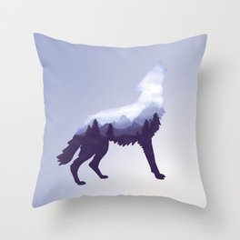 Wolf Double Exposure Surreal Wildlife Animal Wolves Gifts Throw Pillow