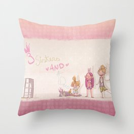 3 Sisters and a Dog! Throw Pillow