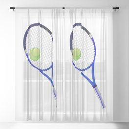 Tennis Racket And Ball Sheer Curtain