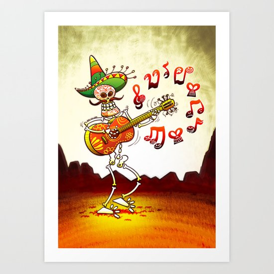Mexican Skeleton Playing Guitar Art Print