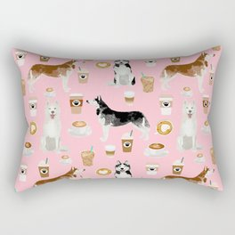 Husky siberian huskies coffee cute dog art drinks latte dogs pet portrait pattern Rectangular Pillow