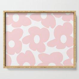 Large Baby Pink Retro Flowers on White Background #decor #society6 #buyart Serving Tray