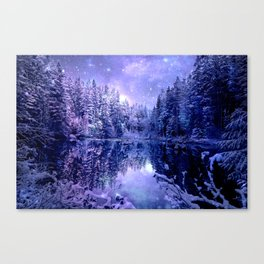 Lavender Winter Wonderland : A Cold Winter's Night Canvas Print