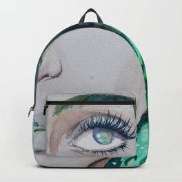Green Pattern Mermaid Watercolor Backpack