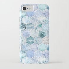Ice Blue and Jade Stone and Marble Hexagon Tiles iPhone 7 Slim Case