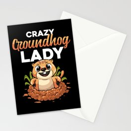Crazy Groundhog Lady Woodchuck Marmot Woman Girl Stationery Cards