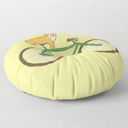 Corgi on a bike Floor Pillow