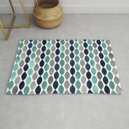 Geometric Art, Colorful Stripes, Aqua, Navy and Grey Rug
