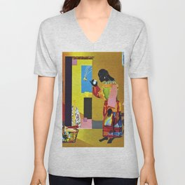 African American Masterpiece 'A Falling Star' by R. Bearden Unisex V-Neck