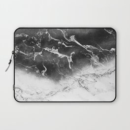 Modern black and white marble ombre watercolor color block Laptop Sleeve