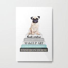 Pug, Books, Fashion books, Gray, Teal, Fashion, Fashion art, fashion poster, fashion wall art, Metal Print