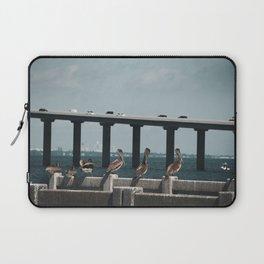 Skyway Bridge & Bob's Pelican Friends Animal / Wildlife Photograph Laptop Sleeve
