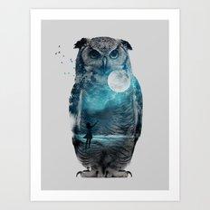 OWL / MOON BALLOON Art Print