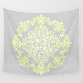Pale Lemon Yellow Lace Mandala on Grey Wall Tapestry