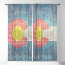 Colorado State flag, Vintage retro style Sheer Curtain