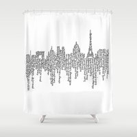 casablanca Shower Curtains featuring Paris by S. L. Fina