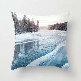 Frosty River Banks Throw Pillow