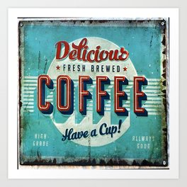 Vintage Style Coffee Sign Art Print