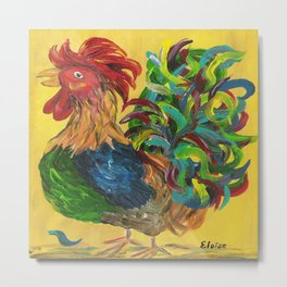Plucky Rooster Metal Print