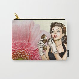 Retro Pinup Girl Compact Lipstick & Pink Flower Carry-All Pouch