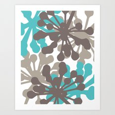 Modern Botanical Print Teal Brown Art Print
