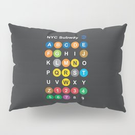 New York City subway alphabet map, NYC, lettering illustration, dark version, usa typography Pillow Sham