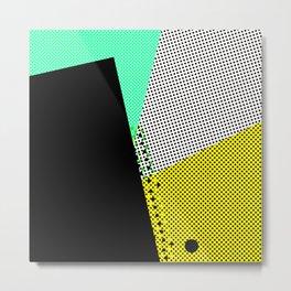 Pop time geometric abstract black dots Metal Print