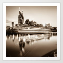 Music City Motion - Nashville Skyline Square Format Sepia Art Print