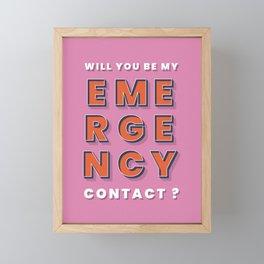 Emergency contact - typography Framed Mini Art Print
