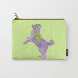 Bernese Mountain Dog Vintage Floral Pattern Purple Lilac Lavender Green Pink Carry-All Pouch