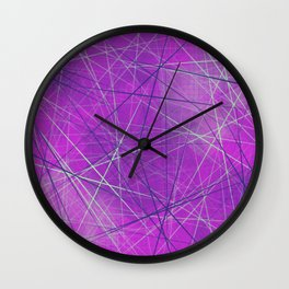 Networking in Pink Geometric Lines Pattern Design Wall Clock