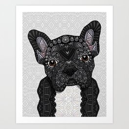 Black Frenchie 001 Art Print