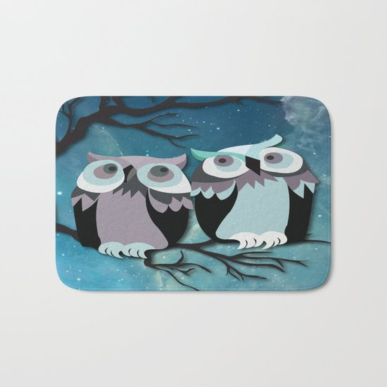 Owls In Moonlight Bath Mat