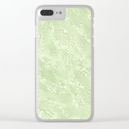 Lime Green Silk Moire Pattern Clear iPhone Case