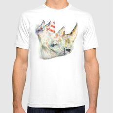 Rhino's Party White Mens Fitted Tee MEDIUM