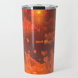 Space Islands of Orange Travel Mug