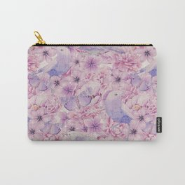 Watercolor Bird And Flower Pattern Carry-All Pouch