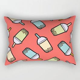 Bubble Tea Pattern in Red Rectangular Pillow