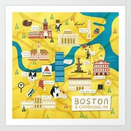 Illustrated map of Boston and Cambridge, MA Art Print