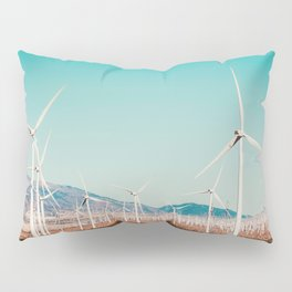 Wind turbine with mountain background in the desert at Kern County California USA Pillow Sham