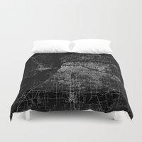 memphis Duvet Covers featuring Memphis map by Line Line Lines
