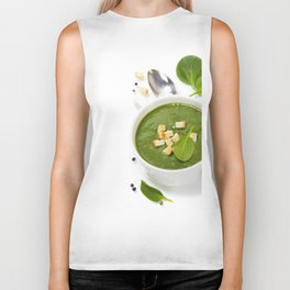 Traditional Spinach cream soup with croutons and fresh spinach leaf on top Biker Tank