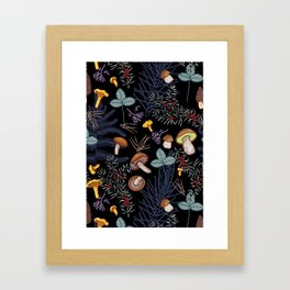 dark wild forest mushrooms Framed Art Print