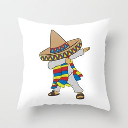 Mexican themed Top Garment Apparel Dab Dabbing Swag Dope T-shirt Design Mexico Green White Red Throw Pillow