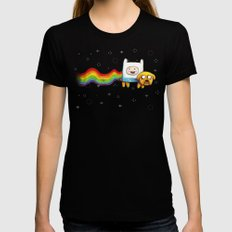Nyan Time with Jake and Finn Black Womens Fitted Tee SMALL