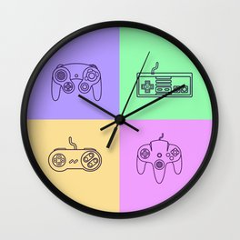 Nintendo Gaming Controllers - Retro Style! Wall Clock