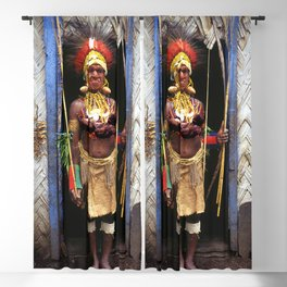 Papua New Guinea Chief in Hut Doorway Blackout Curtain