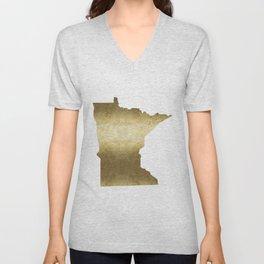 minnesota gold foil state map Unisex V-Neck